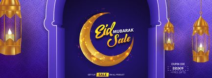 Eid Mubarak Sale with Arabic Calligraphy Vector Illustration stock images