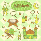 Eid Mubarak Set Ilustração Stock