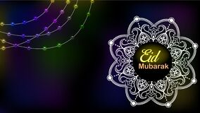 Free Eid Mubarak Set Of Posters Or Invitations Design On Black Background. Vector Illustration Royalty Free Stock Photography - 183174657