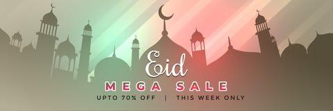 Eid Mubarak sieci sztandaru projekt z oferty i sprzedaży detals ilustracji