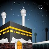 Eid Mubarak (som välsignar fo Eid) med Kaaba royaltyfri illustrationer