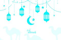 Eid Mubarak Traditional Arabic Lantern With måne och bakgrund för vit för stjärnahälsningkort Arkivfoton