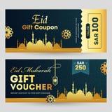 Eid Mubarak-van de giftcoupon of bon voor en achterontwerp met decoratie van gouden moskee stock illustratie