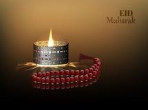 Eid och Ramadantemabakgrund med en brinnande lampa och en radband stock illustrationer