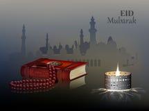 Eid och Ramadantemabakgrund med en brinnande lampa och en radband royaltyfri illustrationer
