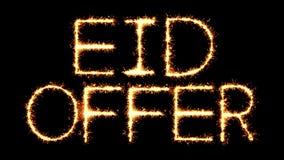 Eid Offer Text Sparkler Glitter chispea la animación del lazo del fuego artificial stock de ilustración