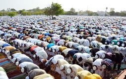 Eid Prayer in Bhopal, India. Muslim devotees offering prayer on the occasion of Eid in Bhopal on saturday,18th June 2018 Royalty Free Stock Photos