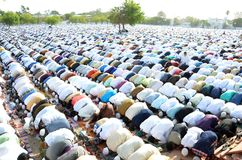 Eid Prayer in Bhopal, India. Muslim devotees offering prayer on the occasion of Eid in Bhopal on saturday,18th June 2018 stock photography