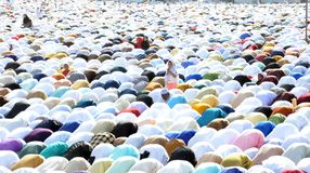 Eid Prayer em Bhopal, Índia Imagem de Stock