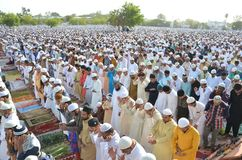 Eid Prayer i Bhopal, Indien royaltyfria bilder