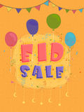 Eid sale poster, banner or flyer with balloons. Stock Image