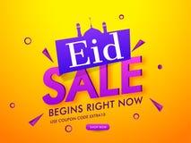 Eid Super Sale baner- eller affischdesign vektor illustrationer