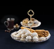 Eid Traditional Cookies, Muslim Holiday Snacks. Eid Al-Fitr Sweet Cookies, Muslim Lesser Holiday Snacks stock images