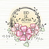 Eid-Ul-Adha celebration with floral frame. Royalty Free Stock Image