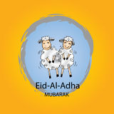 Eid-ul-adha greeting card. Decoration with cute sheeps Stock Photos