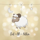 Eid-ul-adha greeting card. Decoration with hand drawn sheep, moon, stars and lights. Muslim community festival of sacrifice. Festive blurred  background Royalty Free Stock Images