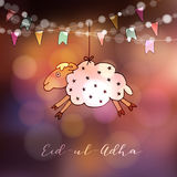 Eid-ul-adha greeting card with hand drawn sheep and party flags. Muslim community festival of sacrifice. Modern blurred. Eid-ul-adha greeting card with hand Stock Photography