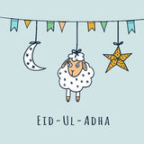Eid-ul-adha greeting card with sheep, moon, star,. Eid-ul-adha greeting card with sheep, moon, star and flags, muslim community festival of sacrifice Stock Image