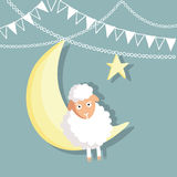Eid-ul-adha greeting card with sheep, moon, star and flags. Muslim community festival of sacrifice, flat design Stock Image
