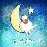 Eid-ul-adha greeting card with sheep, moon and star,. Muslim community festival of sacrifice Royalty Free Stock Image