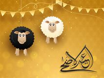 Eid-Ul-Adha, Islamic festival of sacrifice concept with happy ha. Nging sheep and arabic calligraphic text Eid-Ul-Adha on golden abstract background Royalty Free Stock Photos