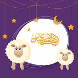 Eid-Ul-Adha, Islamic festival of sacrifice concept with happy sh. Eep, hanging moon and stars and arabic calligraphic text Eid-Ul-Adha on purple background Royalty Free Stock Photo