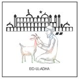 Eid-Ul-Adha, Islamic festival of sacrifice concept with line-art. Illustration of an Islamic man praying before qurbani sacrifice of goat in front of mosque Royalty Free Stock Image