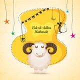 Eid-Ul-Adha, Islamic festival of sacrifice with illustration of. Sheep, and line-art illustration of gift boxes, and stars on yellow and beige background Stock Photo