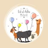 Eid-Ul-Adha, Islamic festival of sacrifice with illustration of. Sheep, goat and camel, and line-art illustration of balloons background Stock Photos