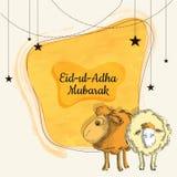 Eid-Ul-Adha Mubarak, Islamic festival of sacrifice with illustra. Tion of sheep, hanging stars on yellow background. Greeting card design Stock Photo