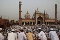 Eid Ul Zuha Jama Masjid, Delhi Stock Afbeeldingen