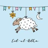 Eid uladha与手拉的绵羊、月亮、星和旗子的贺卡 牺牲回教社区日  向量 库存图片