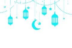Eid UlAdha Eid穆巴拉克贺卡的传统阿拉伯灯笼 皇族释放例证