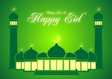 Eid verde e Ramadan Greeting Card Vetora Fotos de Stock Royalty Free