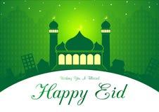 Eid verde y Ramadan Greeting Card Illustration Ready a utilizar stock de ilustración