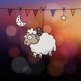 Eidal adhakaart Hand getrokken schapen met partijvlaggen, de maan, en ster Vectorillustratie voor de Moslimvakantie van offer stock illustratie