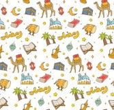 Eidal fitr of ramadan de krabbelachtergrond van het vieringsbeeldverhaal voor royalty-vrije illustratie