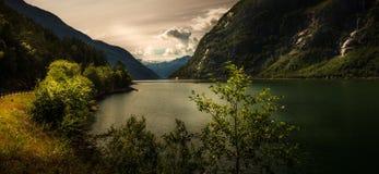 从Eidfjord, Hardanger的风景在挪威 免版税库存照片