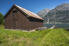 Eidfjord fjord. A boathouse on the Eidfjord fjord Norway in summer Royalty Free Stock Photos
