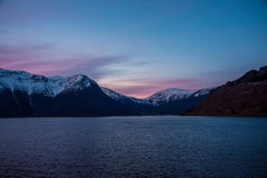Eidfjord Noruega no nascer do sol Fotografia de Stock Royalty Free