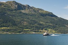 Eidfjord in Norway. Eidfjord, Norway - July 20, 2016: Eidfjord is a municipality in Hordaland county, Norway. The municipality is located in the traditional Royalty Free Stock Images