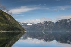 Eidfjord norway. Reflection of mountains and nature in eidfjord norway Stock Photography