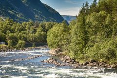 Eidfjord and rapid river in Norway.  Royalty Free Stock Photography