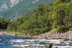 Eidfjord and rapid river in Norway.  Royalty Free Stock Image