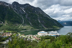 Eidfjord village. With AIDAsol at Cruise Terminal. Eidfjord is a municipality in Hordaland county, Norway Stock Photos