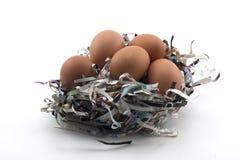 Eier auf dem Zeitungsschutz auf einem weißen Hintergrund Lizenzfreie Stockfotografie