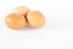 Eier auf einem weißen Hintergrund Stockfotografie