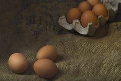 Eier auf Sackleinenhintergrund Stockfotos