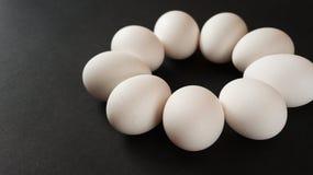 Eier auf schwarzem Hintergrund Stockfotografie