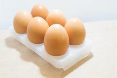 Eier auf weißem Behälter Lizenzfreies Stockbild